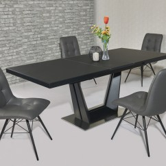 Black Dining Table And Chairs Green Accent Chair Matt Glass 8 Grey Homegenies