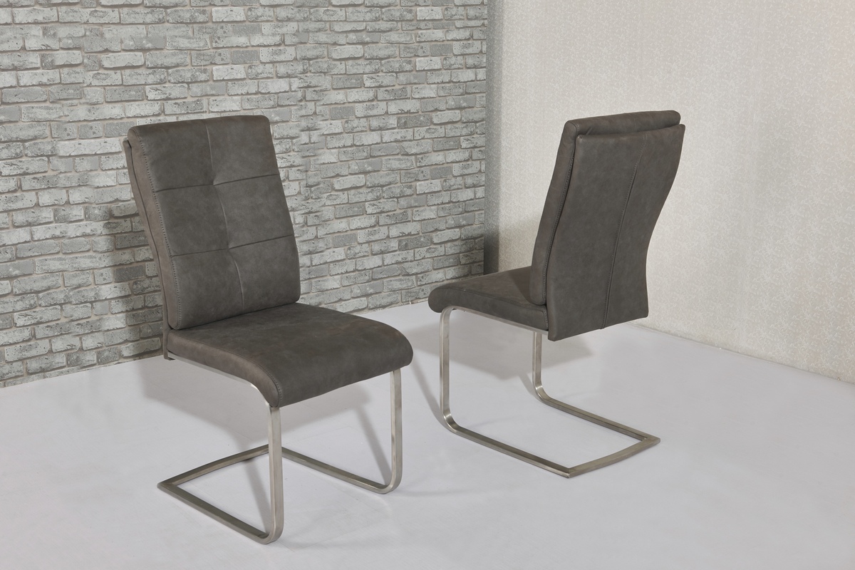 Grey fabric dining chairs  Homegenies