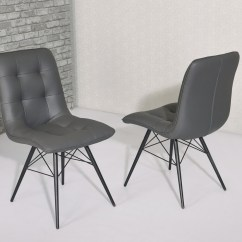 Modern Grey Dining Chairs Uk Wingback Chair Nz Faux Leather Homegenies