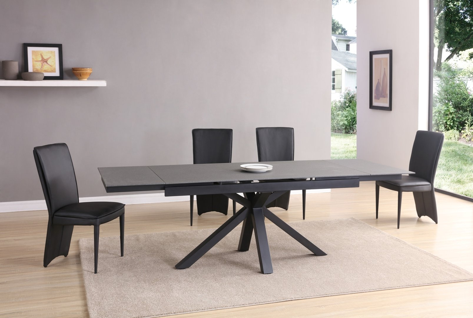 Black  grey stone glass dining table and 10 Chairs