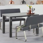 Dark Grey High Gloss Dining Table Bench With Backs Homegenies