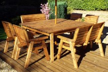8 Seater Wooden Garden Table Bench And Chair Set Dining
