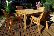 Quality 4 Seater Square Wooden Outdoor Dining Set