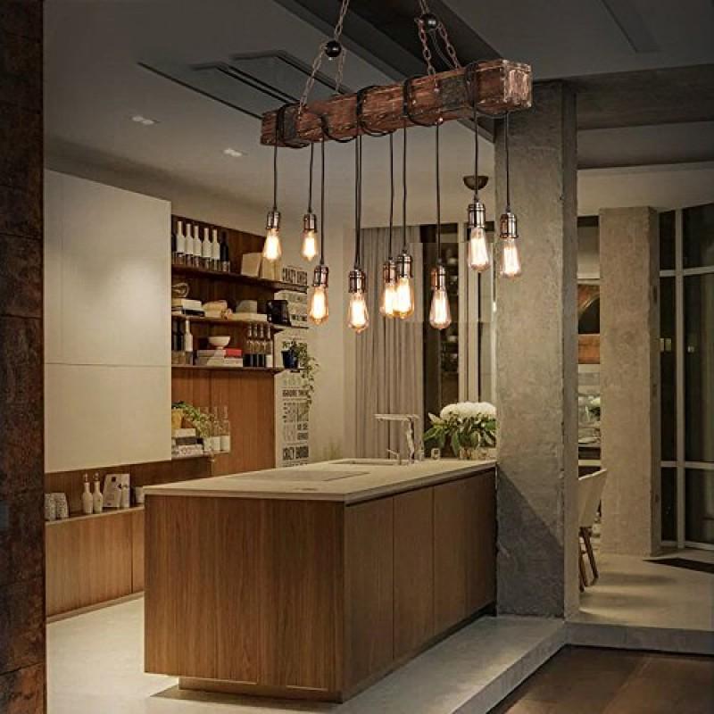Lustre Plafonnier Suspension Lampe Industriel Vintage avec Bois et Mtal Rglable pour E2710