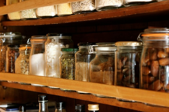 I keep all my jars stoked with the essentials - nuts, seeds, dried fruit - all easy access from my kitchen bench.