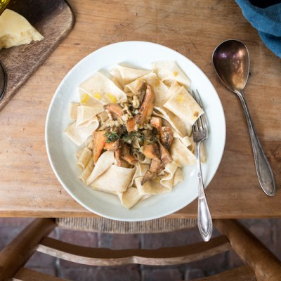 Handmade: SOURDOUGH PAPPARDELLE with Creamy Thyme Mushrooms