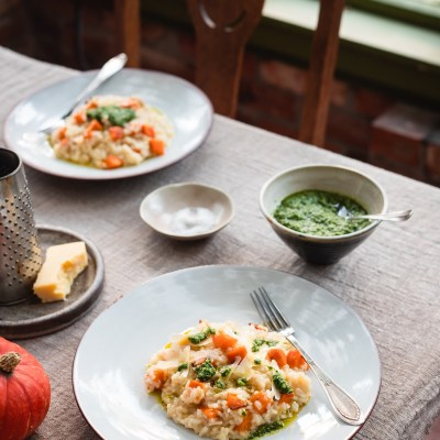 BAKED RISOTTO with Roasted Pumpkin & Parsley Pesto