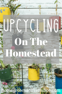 Upcycling on the homestead is a great way to save money, and be green! Click here to get some inspiration on how to upcycle around your home. #homesteading #upcycling #recycling #begreen #frugal