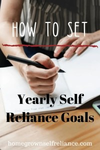 Woman writing - How to set yearly self reliance goals