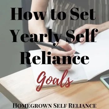 Woman writing in journal - How to Set Yearly Self Reliance Goals