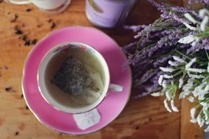 Tea cup with lavender herb