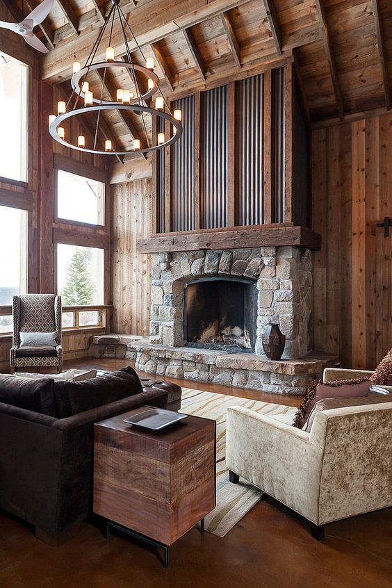 All things natural idea for a cobblestone fireplace. ...