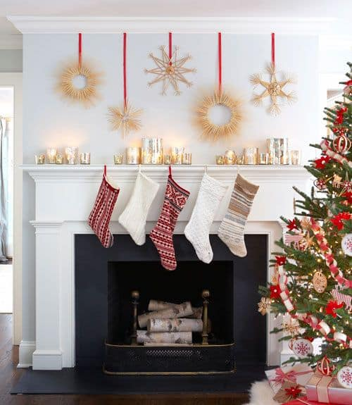 holiday fireplace mantel decorating ideas 11