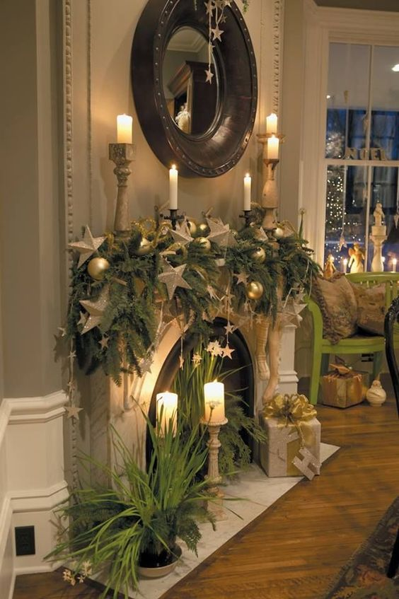holiday fireplace mantel decorating ideas 12
