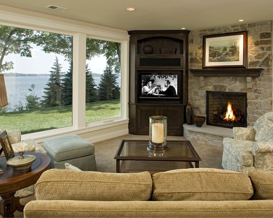 Lovely Corner TV On An Angled Living Room Layout. Living Room Layout Fireplace ...