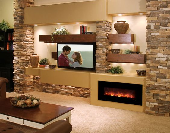 TV Beside A Fireplace For An Accent Living Room Wall. ...