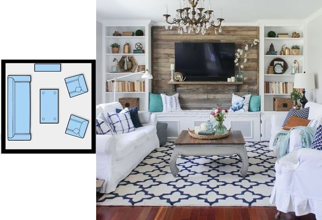 Tv Room Layout - 3d House Drawing •