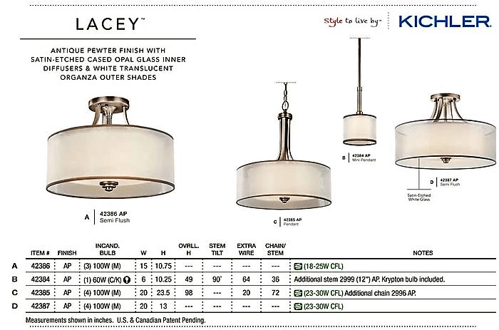 kichler lacey semi flush ceiling light antique pewter