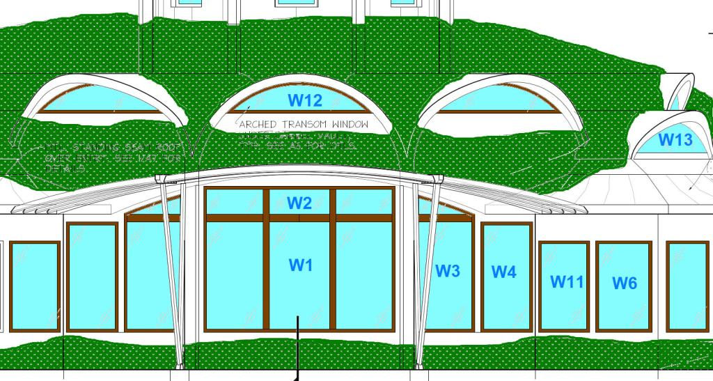 Here is the window arrangement for the front of the house.  W3 tucks under the sunshade.  It is really a single window with a faux mull (to save money).  We decided to save even more money by making it a rectangle.  W4, the casement next to W3, would lose 7 inches of width.