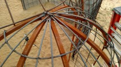 A view of the top of the apse after adding the rebar.