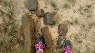 The chunks of concrete that came out of the mix truck and jammed the concrete pump. Sherri's shoes for scale.