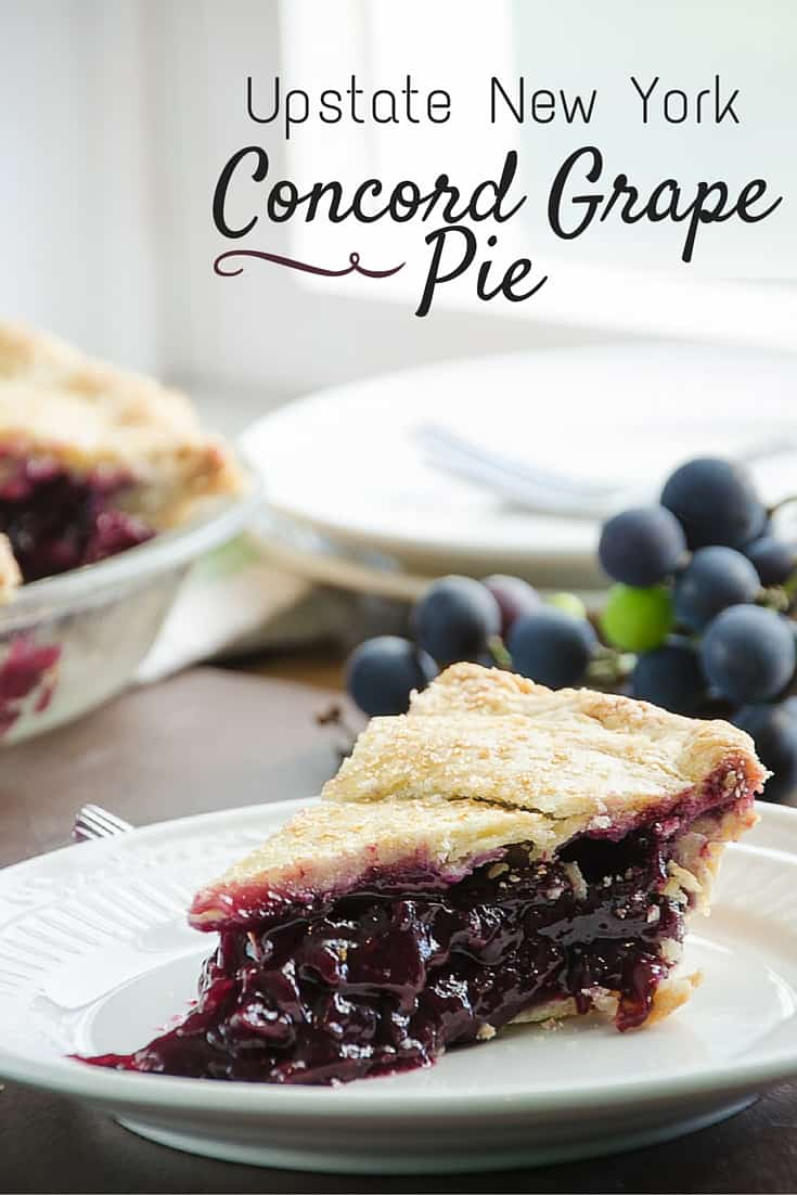 Concord Grape Pie is a favorite Upstate New York local seasonal confection. The pie is slightly labor intensive, but worth it,  there is nothing else quite like this sweet pie!