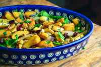 Roasted Delicata Squash with Onions, Spinach, and Craisins
