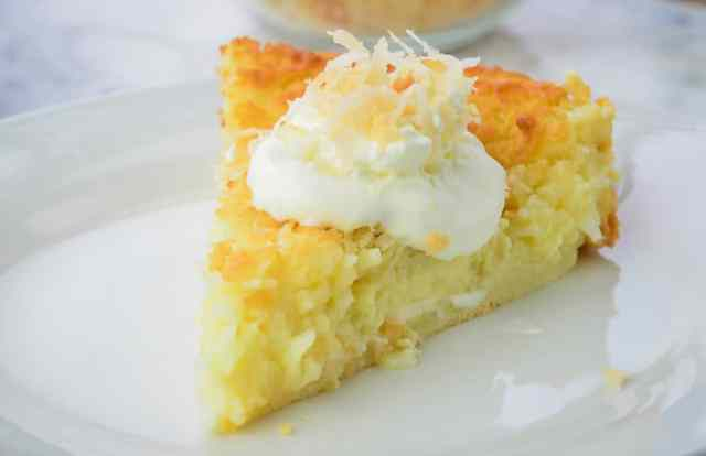 Classic Coconut Impossible Pie, made with homemade baking mix