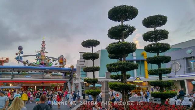 The topiary trees of Tomorrowland help create the futuristic landscape