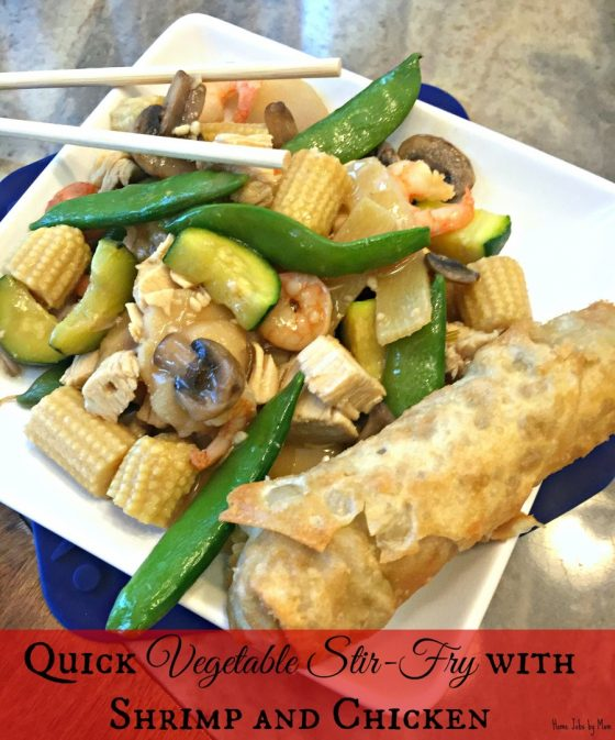 Quick Vegetable Stir-Fry with Shrimp and Chicken