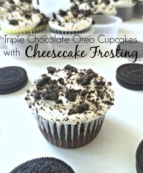 Triple Chocolate Oreo Cupcakes with Cheesecake Frosting