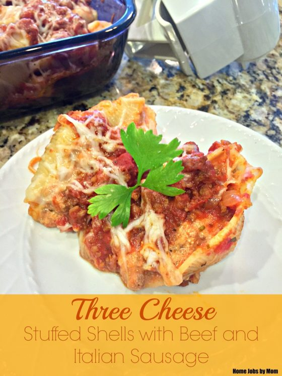 Three Cheese Stuffed Shells with Beef and Italian Sausage
