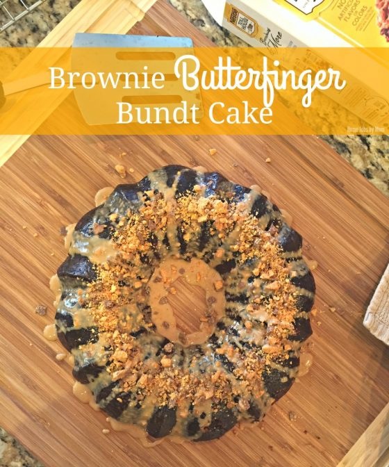 Brownie Butterfinger Bundt Cake (Only 5 Ingredients!)