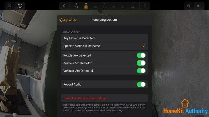 circle 2 HomeKit Secure Video settings