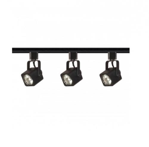 nuvo lighting 3 light mr16 track light kit square line voltage black tk346