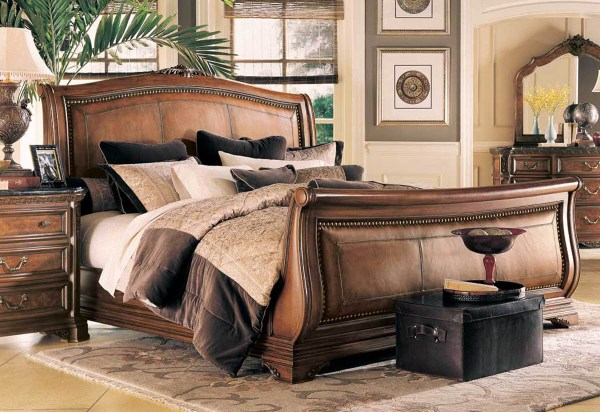 American Drew Leather Sleigh Bed