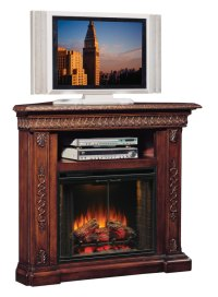 San Marco Walnut Corner Unit Electric Fireplace 28 Inch ...