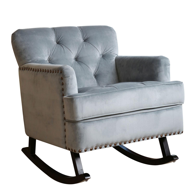 abbyson living rocking chair gliding bluestone velvet nailhead trim rocker