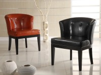 Armen Living Ovation Tufted Midnight Black Leather ...