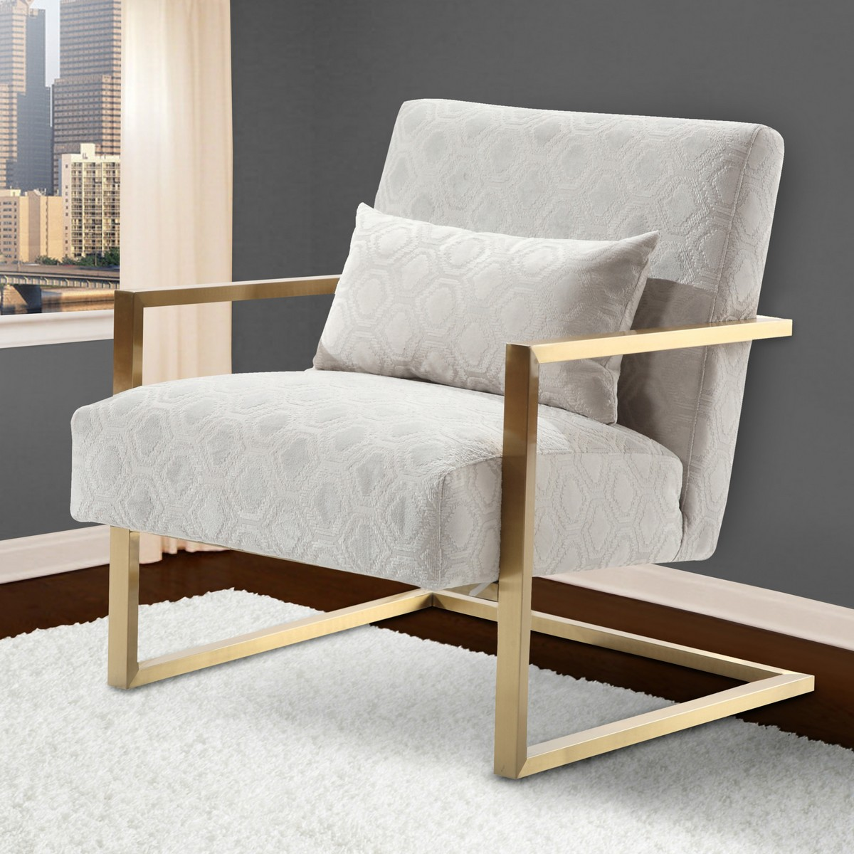 steel chair gold back support armen living skyline modern accent in cream chenille