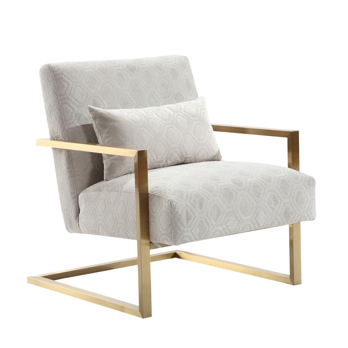 modern aluminum chair john lewis kitchen covers armen living skyline accent in cream chenille
