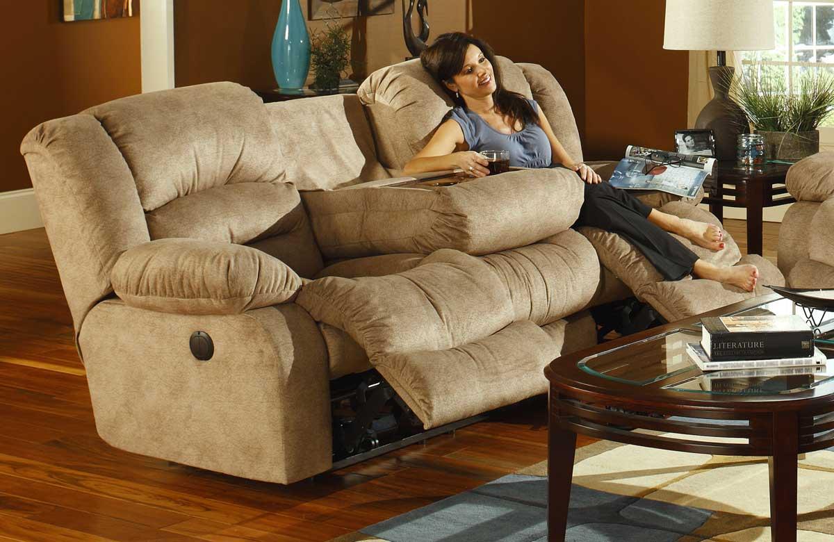 fabric reclining sofas la z boy sofa frame construction catnapper summit dual with burl drop down ...