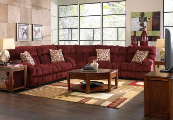 Catnapper Siesta Power Lay Flat Reclining Sectional Sofa Set - Wine Cn-61761-sect-set-wine