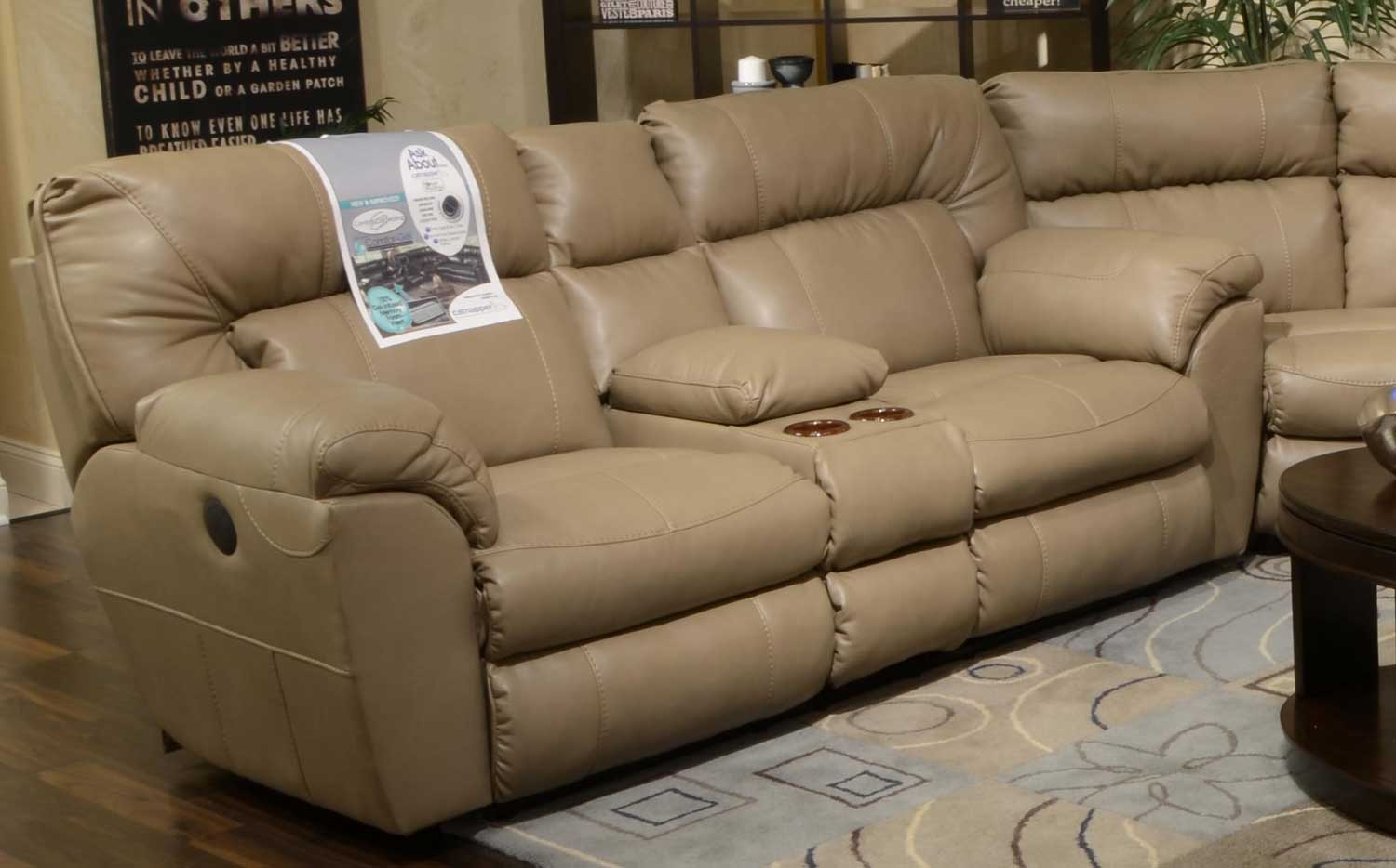 nolan power reclining sofa side computer table catnapper leather extra wide console