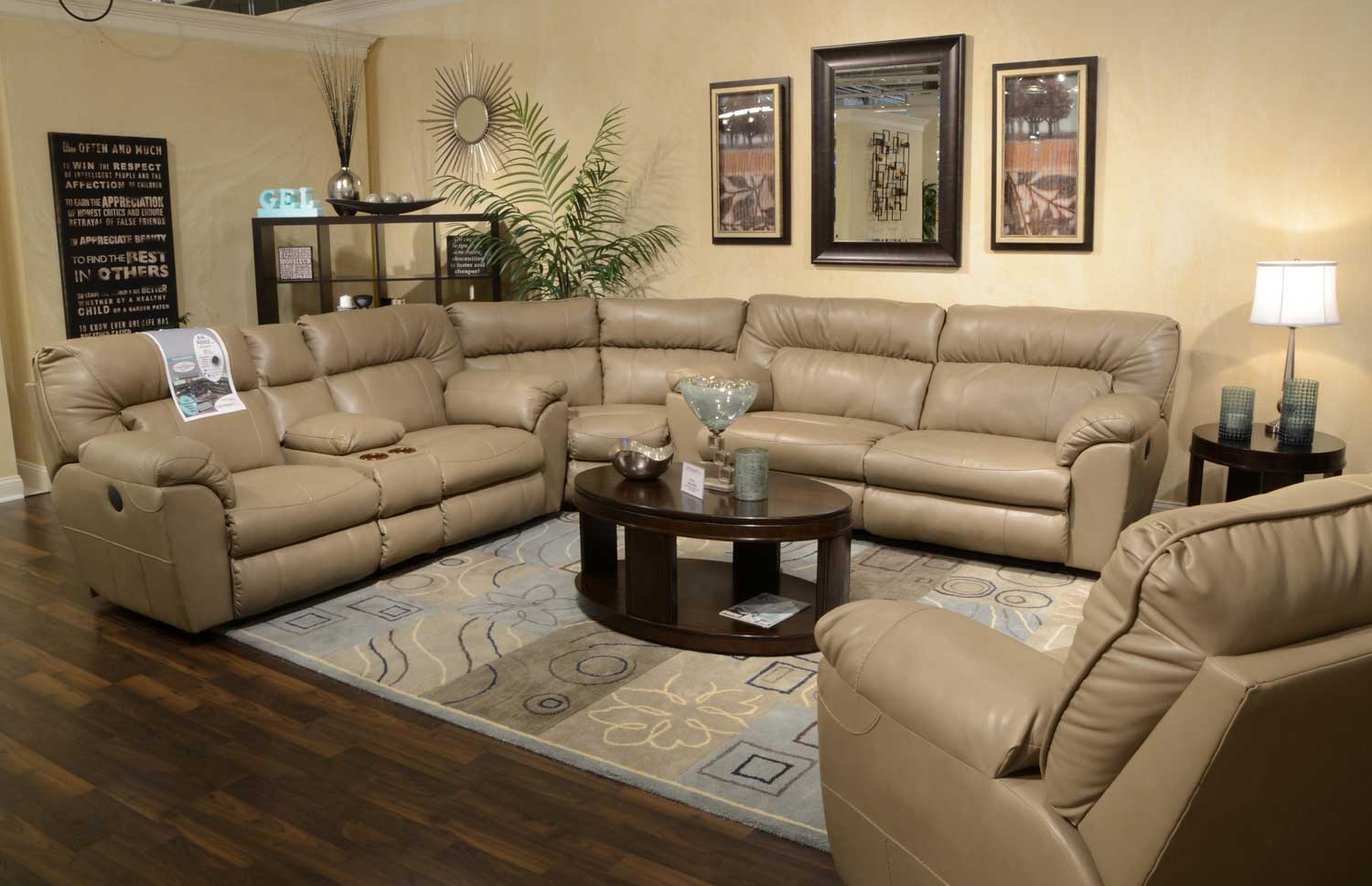 CatNapper Nolan Leather Sectional Sofa Set Putty CN 4041