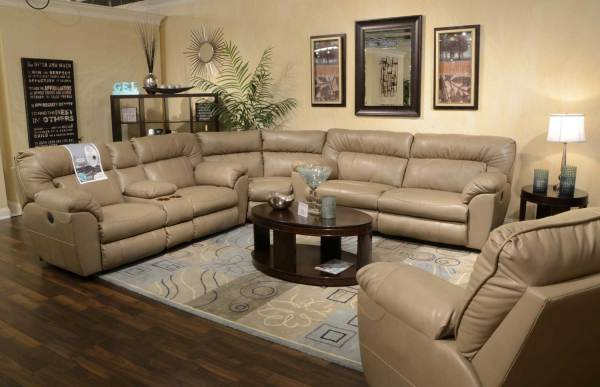Catnapper Nolan Leather Sectional Sofa Set - Putty Cn-4041-sect-set-putty