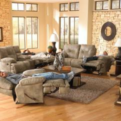 Voyager Lay Flat Triple Reclining Sofa Foam Cushions Inserts Catnapper Set Brandy
