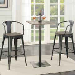 Black Square Pub Table And Chairs Small Bean Bag Chair Coaster 100730 Bar Set Matte Dark Elm