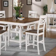 Pub Table And Chairs 3 Piece Set 2 Relax R Chair Coaster Ashley Counter Height Dining - Oak Antique White 104005-din-set At Homelement.com