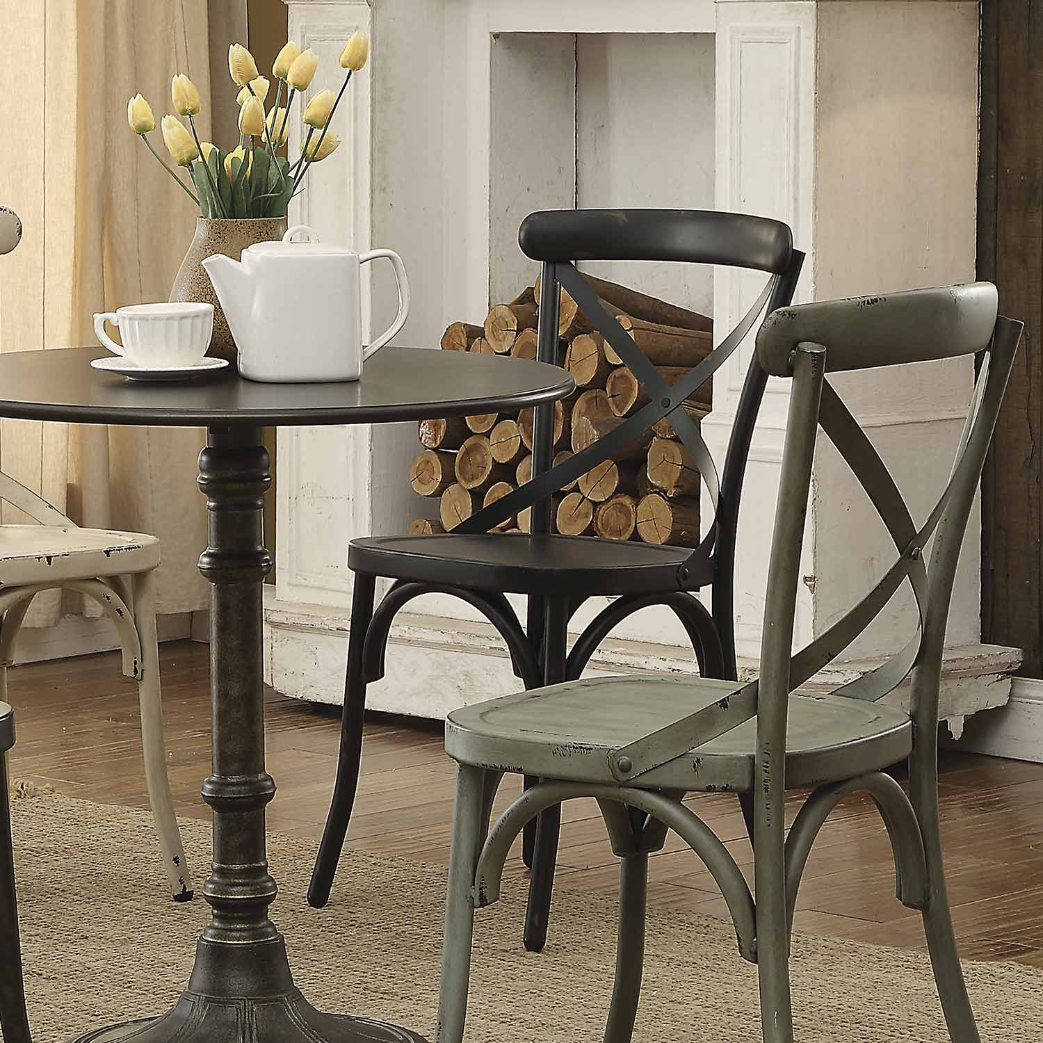 rustic metal dining chairs fisher price infant chair coaster nagel side dark 105312
